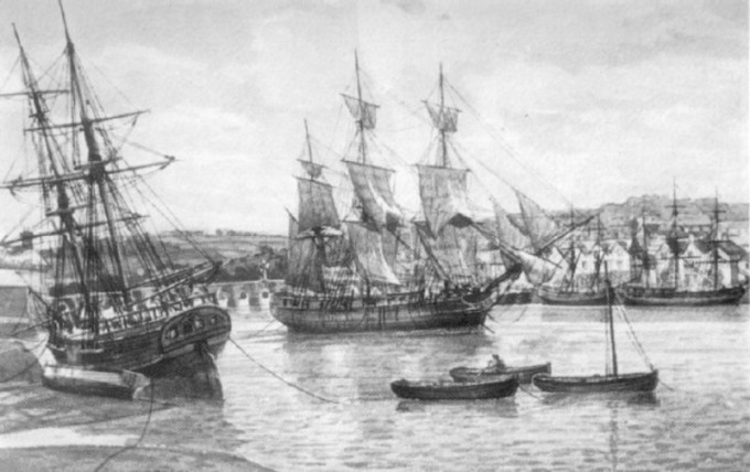A_painting_of_18th_Century_ships_on_the_River_Torridge