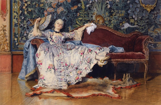 A reclining lady with a fan