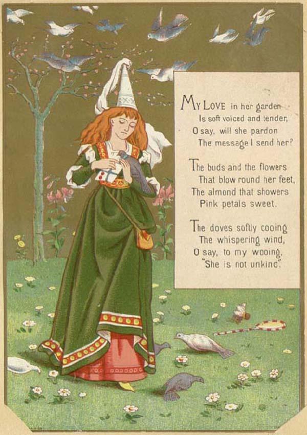 My love in her garden. Victorian Valentine card