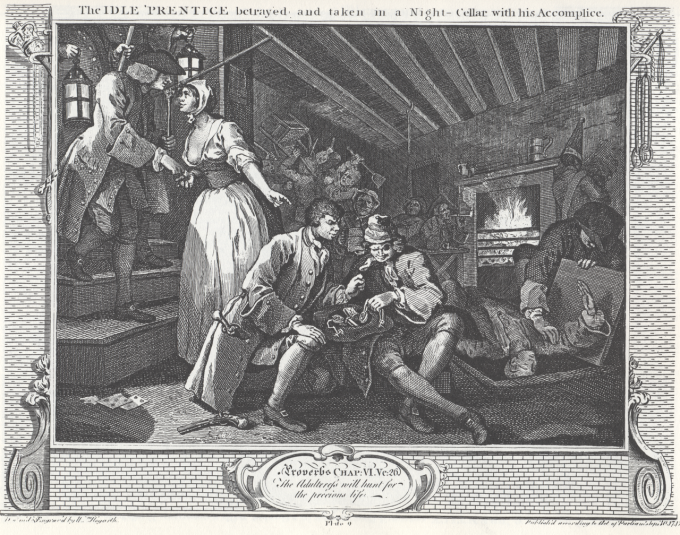 1280px-William_Hogarth_-_Industry_and_Idleness,_Plate_9;_The_Idle_'Prentice_betrayed_and_taken_in_a_Night-Cellar_with_his_Accomplice