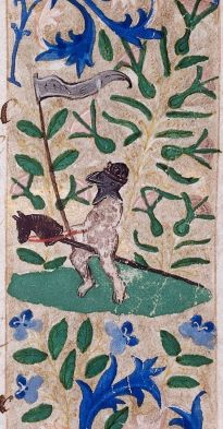 nude knight on a hobby horse